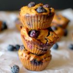 Sweet Potato Blueberry flourless muffins are a healthy and delicious breakfast or snack made with 5 ingredients! Paleo, vegan and gluten-free!