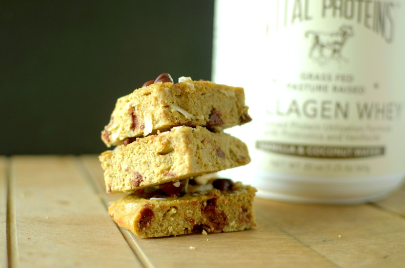 Coconut Cookie Dough Baked Protein Bars are an easy and delicious breakfast, snack or dessert filled with wholesome ingredients. Paleo, low carb and gluten-free!