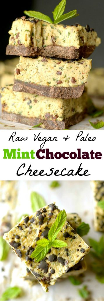 Mint Chocolate Chip Raw Cheesecake is completely vegan, made with just a few ingredients and one healthy and delicious dessert! Also paleo and gluten-free!