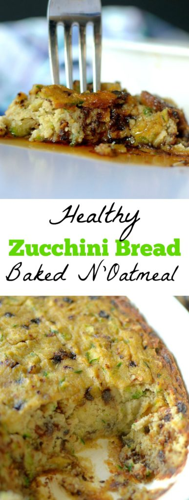 Craving zucchini bread for breakfast? Try this Paleo Chocolate Chip Zucchini Bread N'Oatmeal Bake! It's full of fiber and protein to keep you full and satisfied all morning! Also Vegan-friendly!