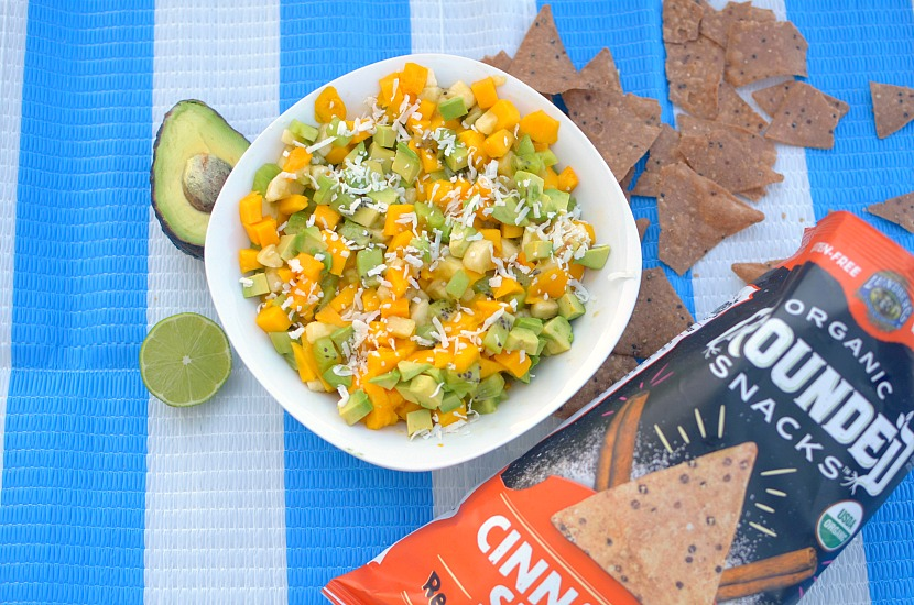 Avocado Tropical Fruit Salsa is an easy condiment made of avocado, banana, kiwi, mango, lime, and coconut! Also paleo, vegan and whole30!