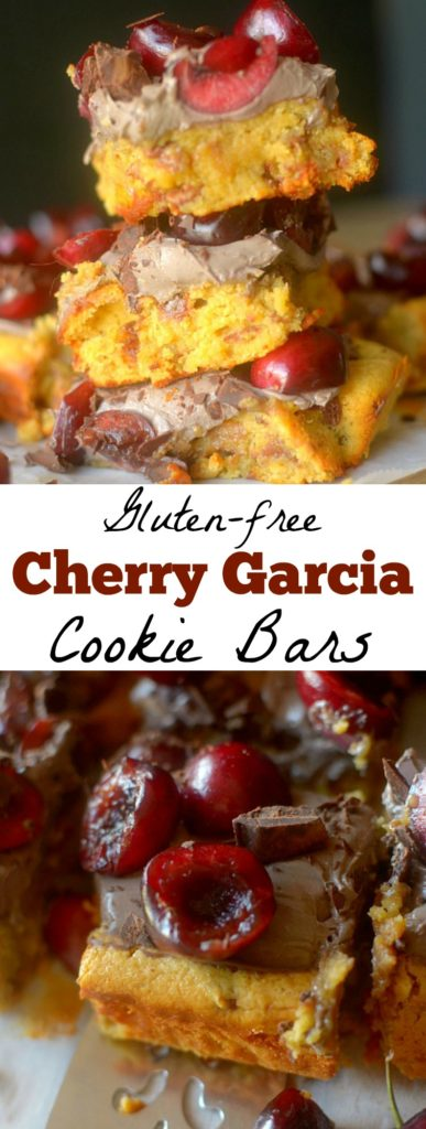 Gluten-Free Cherry Garcia Cookie Bars are a combine two delicious desserts into one decadent yet healthier treat!