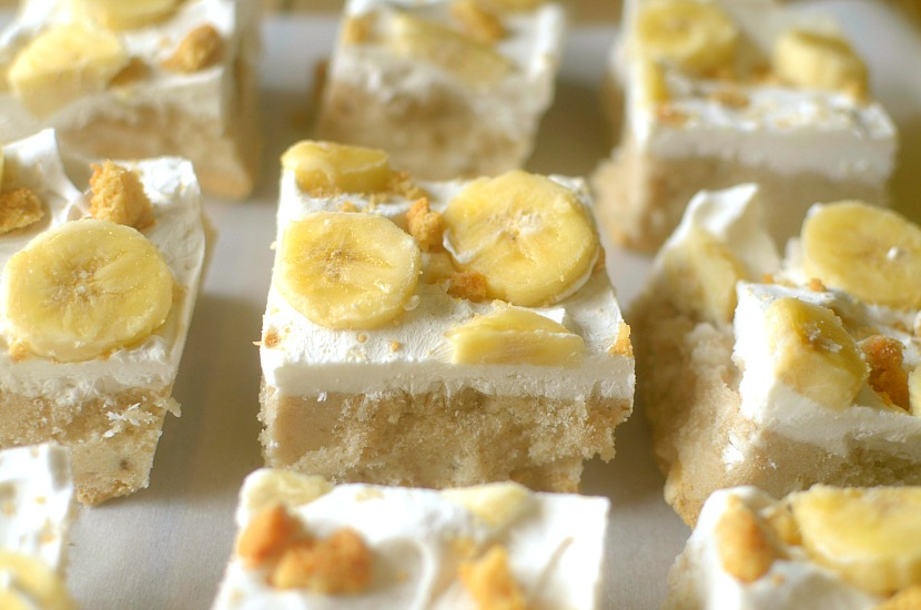 Cool off your tastebuds with these Frozen Banana Cream Pie Bars!  An easy to make, no-bake treat that's made with wholesome allergy-free ingredients!  Also vegan-friendly!