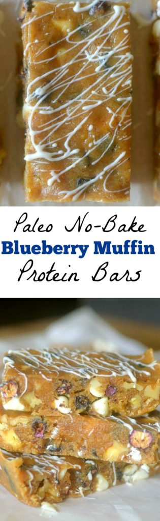 These No-Bake Paleo Blueberry Muffin Protein Bars are a healthy, easy and delicious on-the-go snack! They only require a few ingredients and taste like Blueberry Muffins!