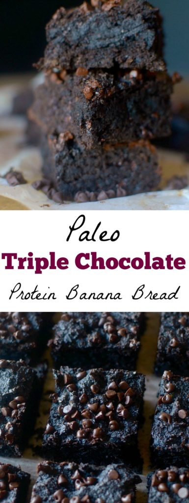 Triple Chocolate Protein Banana Bread is thick, rich and chocolatey you would never guess it's made with wholesome ingredients! Paleo, and gluten-free!