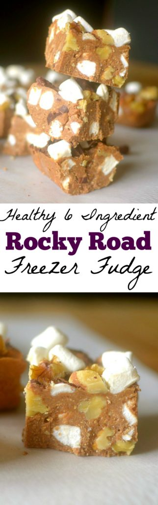 Rocky Road Brownie Batter Freezer Fudge is a simple no-bake treat that's made with only 6 ingredients and can be made in 5 minutes! Low-carb, GF & Vegan!