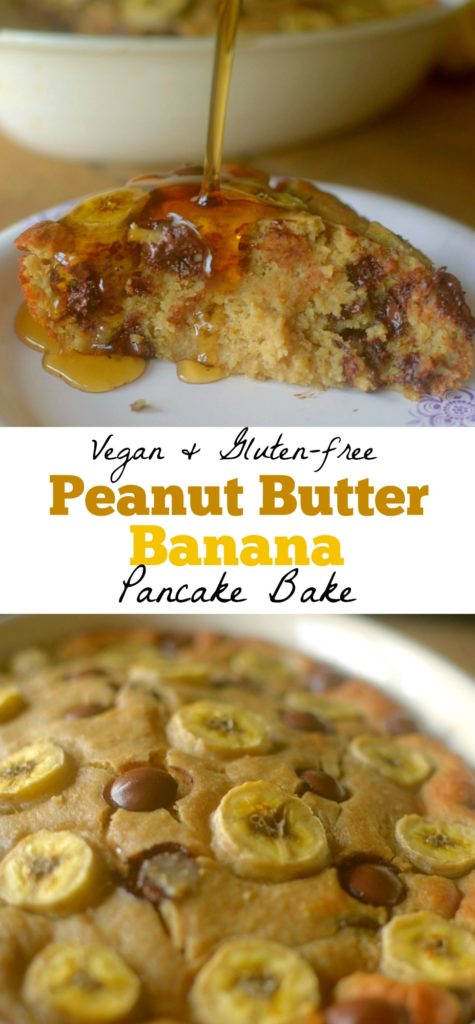 Peanut Butter Banana Pancake Bake is a healthy, delicious high-protein breakfast that can be made ahead for the whole week!  Vegan + Gluten-free