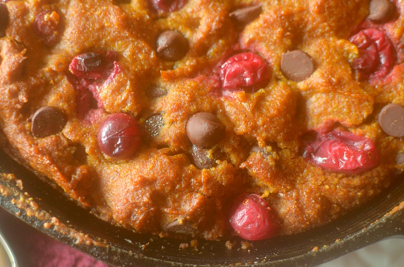 Pumpkin Cranberry Skillet Cake is an easy and wholesome dessert, breakfast or snack made with real ingredients! Paleo, vegan, grain-free and gluten-free!