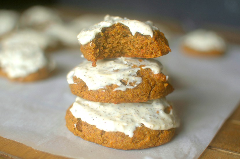 Soft-Baked Frosted Chai Pumpkin Cookies will be your new go-to fall dessert or snack! Fluffy, full of pumpkin-chai flavor and complete with a chai frosting! Paleo & Vegan friendly