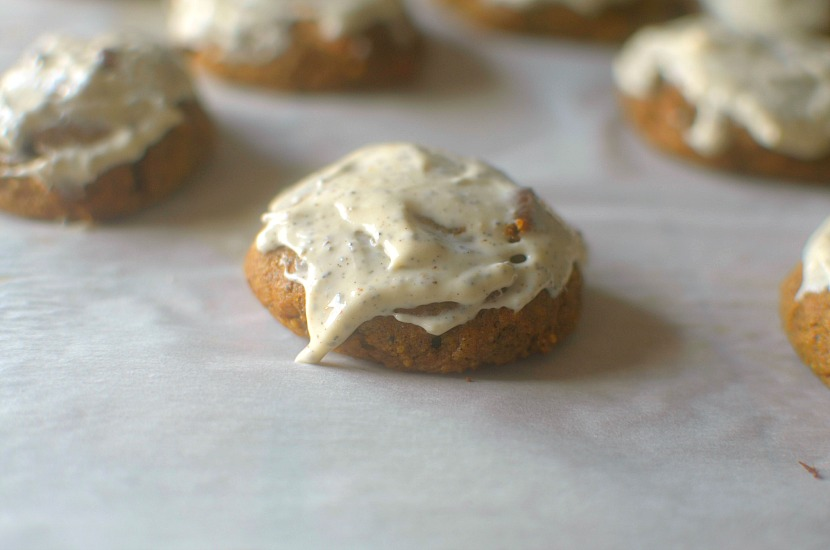 Soft-Baked Frosted Chai Pumpkin Cookies will be your new go-to fall dessert or snack!  Healthy, fluffy, full of pumpkin-chai flavor and complete with a chai frosting!  Paleo & Vegan friendly