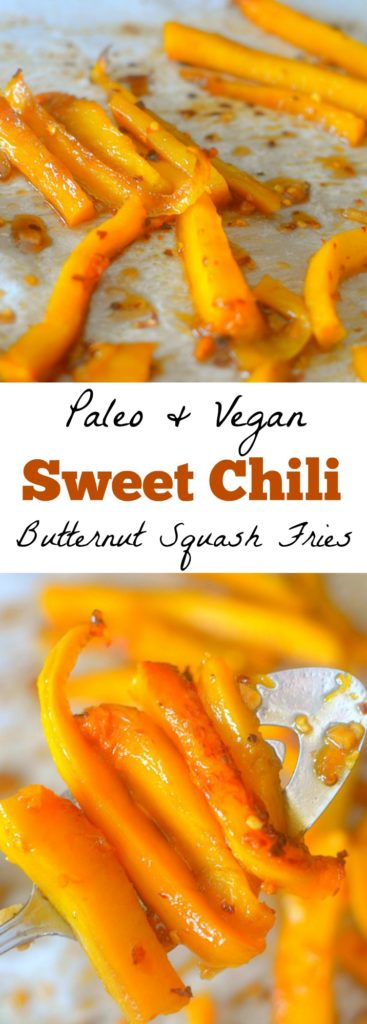 Try a new way to enjoy squash by making these Sweet Chili Butternut Squash Fries! They're easy to make, flavorful, and vegan + paleo friendly!