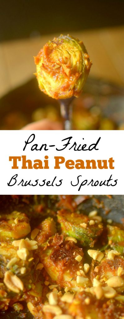 Thai Peanut Pan-Fried Brussels Sprouts will be your new favorite way to enjoy brussels! Coated in a thick spicy peanut sauce, they are irresistible! Vegan + Paleo option