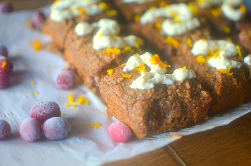 Gluten-free Orange Cranberry Bread is a sweet and satisfying breakfast treat that goes perfectly with a cup of coffee!  Made with nourishing ingredients, and paleo + vegan friendly!