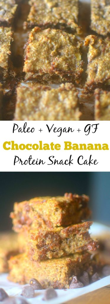 Banana Protein Snack Cake is a delicious and healthy treat that is made with only 5 ingredients! Paleo, vegan and gluten-free friendly!