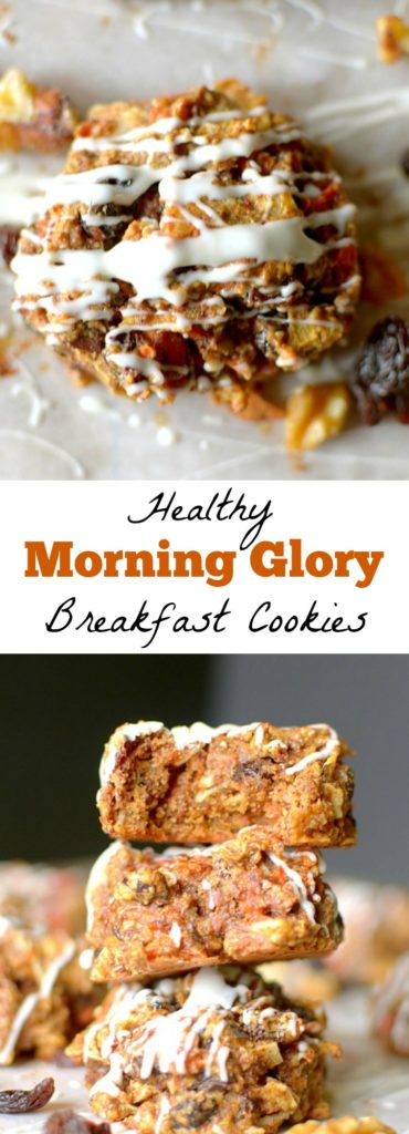 Enjoy something sweet for breakfast while satisfying your appetite with these Morning Glory Breakfast Cookies! Super easy to make + Paleo & Vegan friendly!