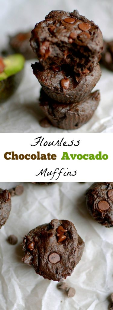 Chocolate Avocado flourless muffins are a healthy and delicious breakfast or snack made with 7 ingredients! Paleo, vegan and gluten-free!