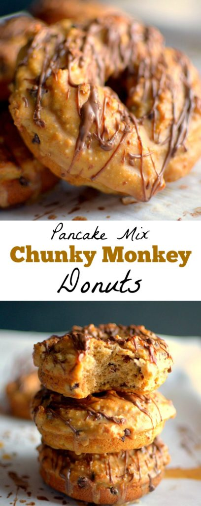 Got Pancake mix? Make these healthy Chunky Monkey Pancake Mix Donuts! They're made with few ingredients, and full of banana, chocolate and peanut butter flavor! Also vegan + gluten-free options.
