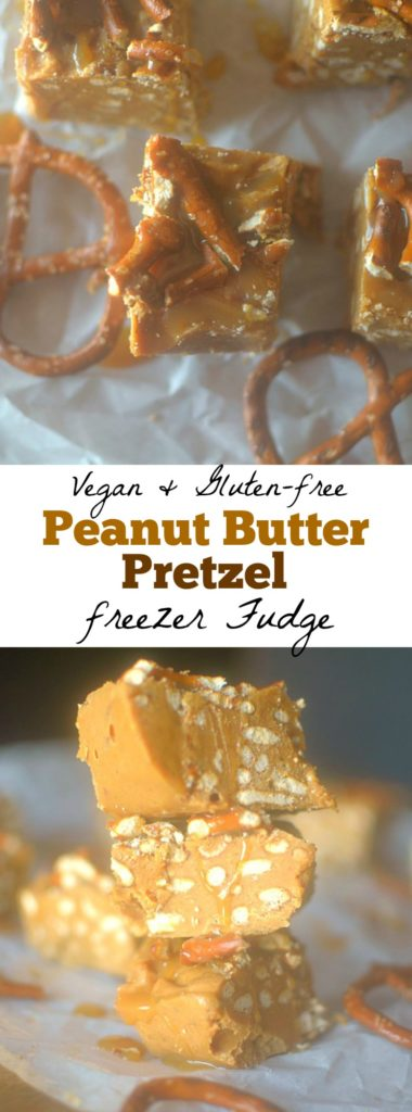 Peanut Butter Pretzel Caramel Fudge is an easy-to-make, delectable fudge that everyone will love!  Only 4 ingredients, vegan + gluten-free friendly!